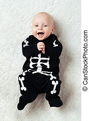 baby dressed skeleton - Little baby dressed funny skeleton