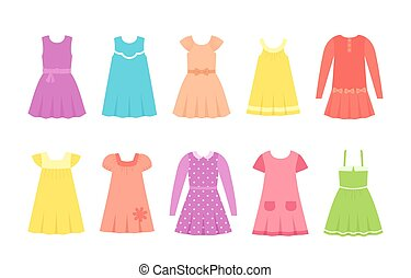 Baby dresses. Vector illustration. Girl clothes in flat.