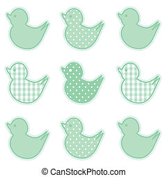 Baby ducks in pastel green gingham and polka dots for baby books, scrapbooks, albums, spring, Easter. EPS8 compatible.