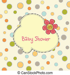 baby duscha, blomma, kort