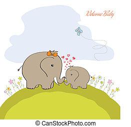 baby duscha, kort, med, baby elefant