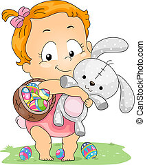 Baby Easter Bunny - Illustration of a Baby Carrying an...