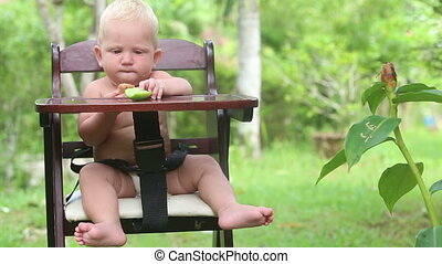 baby eat bread cucumber