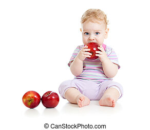 Baby eating healthy food isolated