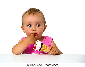 baby eating ice cream