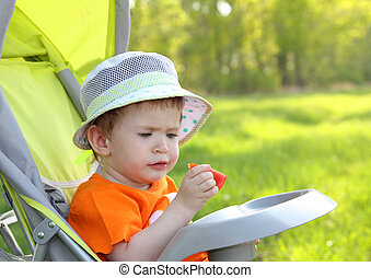 baby eating outdoor