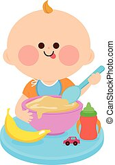 Baby eating solid food. Vector Illustration - A baby boy is ...