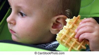 Baby Eating Waffle