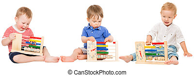 Baby Education, Children Playing Abacus Clock, Kids Learning Mathematics, Preschool