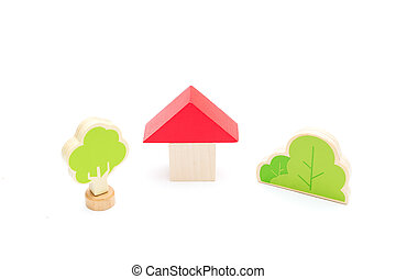 Baby education wooden toys on a white background. Isolated
