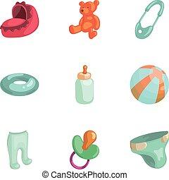 Baby elements icons set, cartoon style