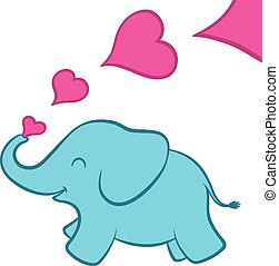 Baby elephant calf with pink hearts - Cartoon illustration...