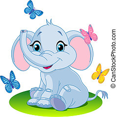 Baby elephant - Very Cute baby elephant sitting on the...