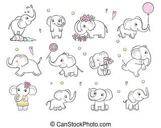 Baby elephant. Cute little wild animal vector drawn illustration for kids