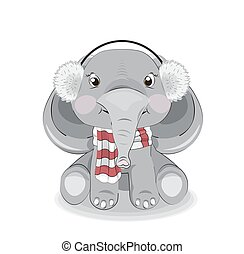 baby elephant girl in headphones and scarf