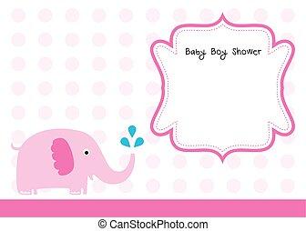 baby elephant girl shower card