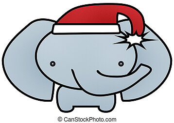 Baby Elephant in Red and White Santa Hat Isolated with Clipping Path for Sublimation or Heat Transfer Design Projects