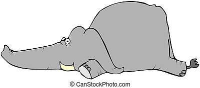 Baby Elephant Laying Down - This illustration depicts a baby...
