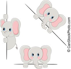 Scalable vectorial image representing a baby elephant peeking from behind in various positions, isolated on white.