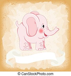 Baby elephant pink on old vintage background - Scalable...