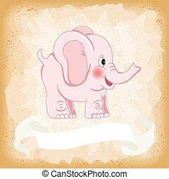 Baby elephant pink on old vintage background