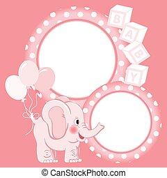 Baby elephant pink scrapbook frame