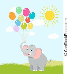 baby elephant with balloons, clouds and sun. vector cartoon. happy birthday illustration