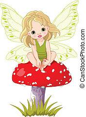 baby, elfje, paddenstoel