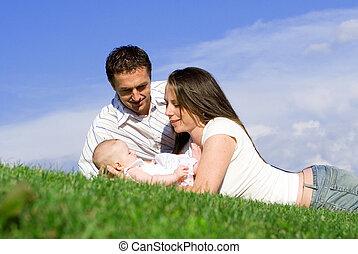 baby, eltern, familie, glücklich