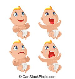 Baby Emotion Character Collection Set Vector