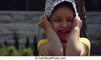 baby emotions, little girl on emotions, laughs and smiles