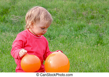 baby, en, ballons