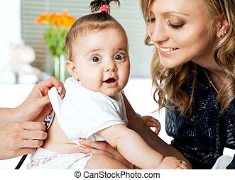 Baby examination mother
