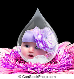 Baby Face in Water Drop