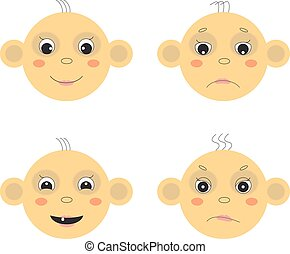 Baby face - Vector baby face image. Emotions, joy, sadness, ...