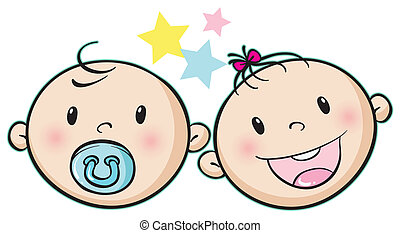 baby faces - illustration of a baby faces on a white...