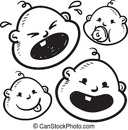 Baby facial expressions sketch - Doodle style infant or baby...
