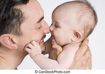 baby, fader, ögonblick, delning, dotter