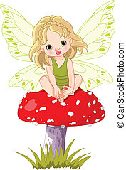 Baby Fairy on the Mushroom - Baby fairy elf sitting on...