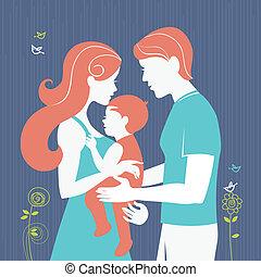 baby, family., flicka, silhuett, föräldrar