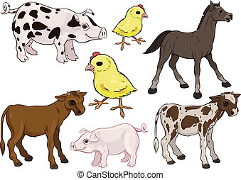 Baby farm animals set - Farm Animals Set. Baby animals....