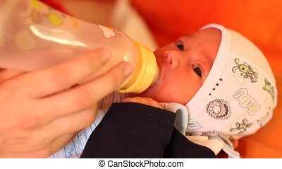 Baby Feeding with Child Bottle