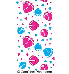 Baby feet  and hearts seamless vector pattern