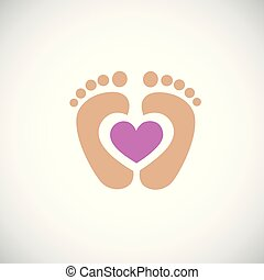baby feet footprint with pink heart