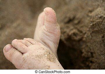 baby feet over the beach sand
