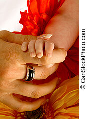 Baby Fingers - A babies hand holding its mothers finger