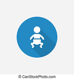 baby Flat Blue Simple Icon with long shadow