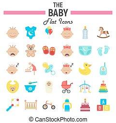 Baby flat icon set, kid symbols collection