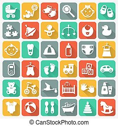 Baby flat icons on colorful square buttons.