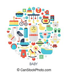 Baby flat infographics icons in circle - color concept illustration for little baby kid cover, emblem, template.